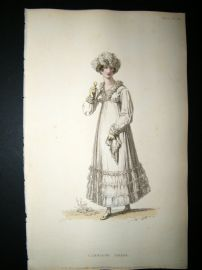 Ackermann 1815 Hand Col Regency Fashion Print. Carriage Dress 14-17